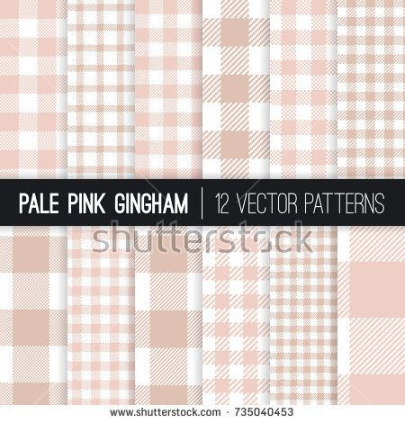 Pale Pink Gingham and Buffalo Check Plaid Vector Patterns. Modern Pixel Gingham Prints of Different Styles. Picnic Tablecloth Background. Vector Pattern Tile Swatches Included.