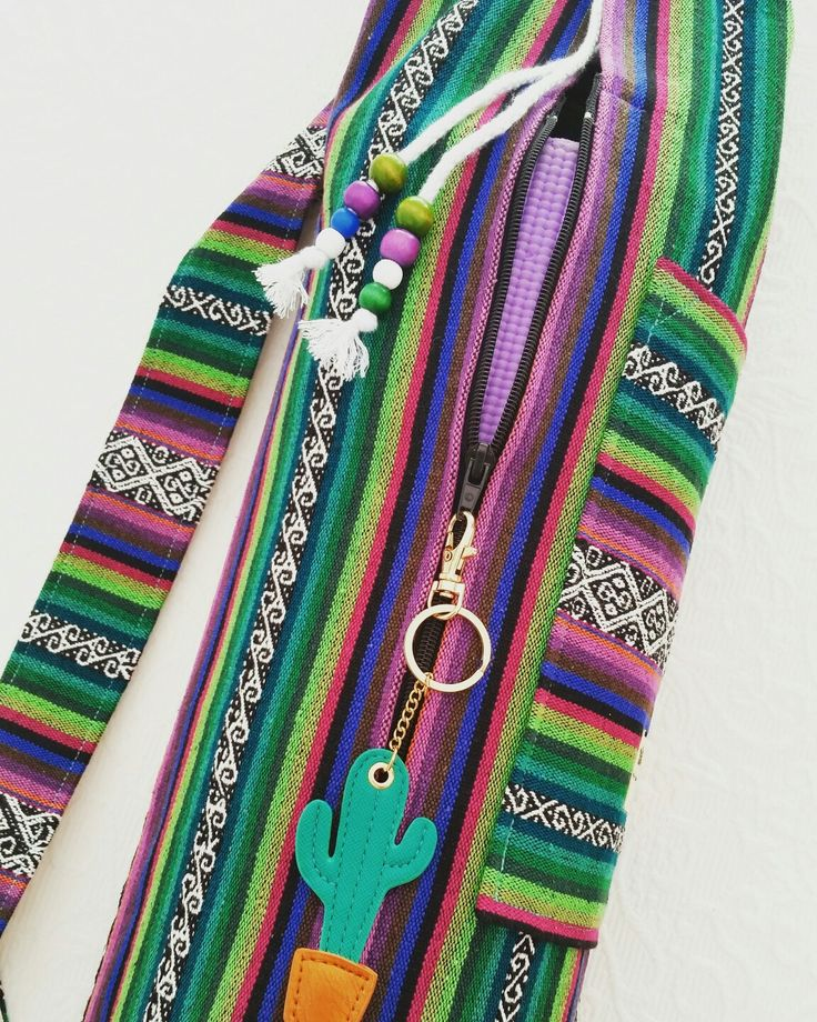 Yoga mat bag - pocket & zip opening STUNNING MEXICAN TEXTILES by NannaBonkers