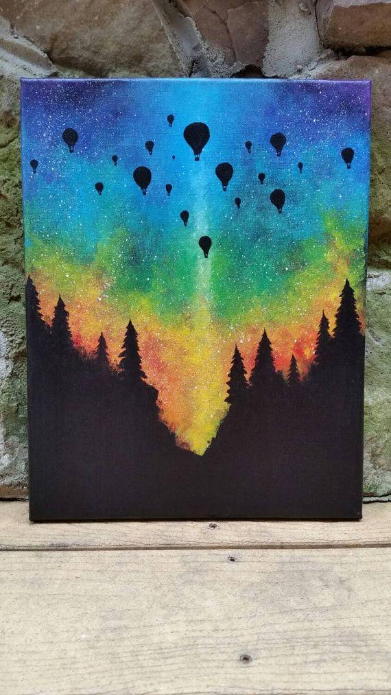 Ballon à air chaud forêt bois rainbow aurores par TheMindBlossom