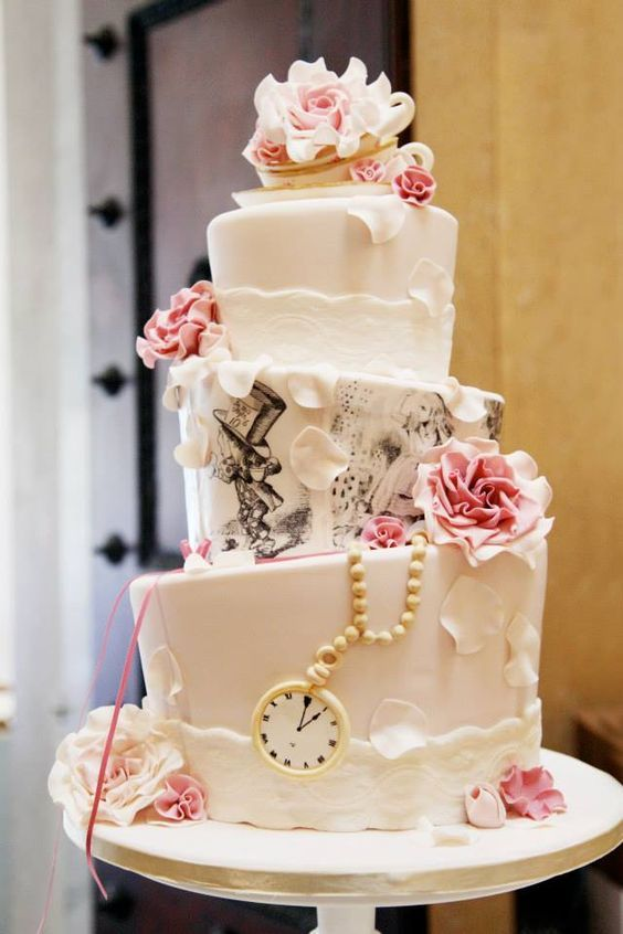 Alice In Wonderland Vintage Tea Party Themed Topsy Turvy Wedding Cake