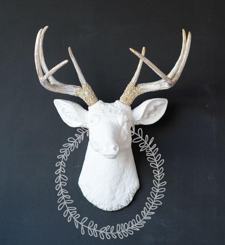 Deer Head, Gold Shabby Chic Deer Head, Wall Mount Deer, Custom Animal Head, Faux Deer Head, Faux Taxidermy, Fake Deer Head, Deer Head, Wall by WhimsicalWallsStudio on Etsy https://www.etsy.com/listing/385544020/deer-head-gold-shabby-chic-deer-head