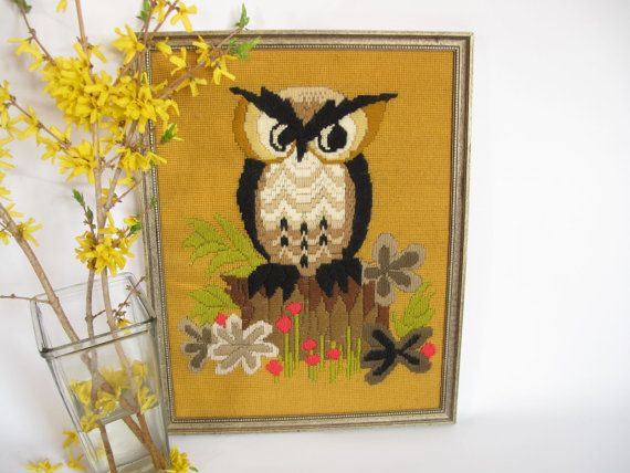 Vintage OWL Needlepoint Handcrafted 1973 Retro Avon Pattern Finished & Framed