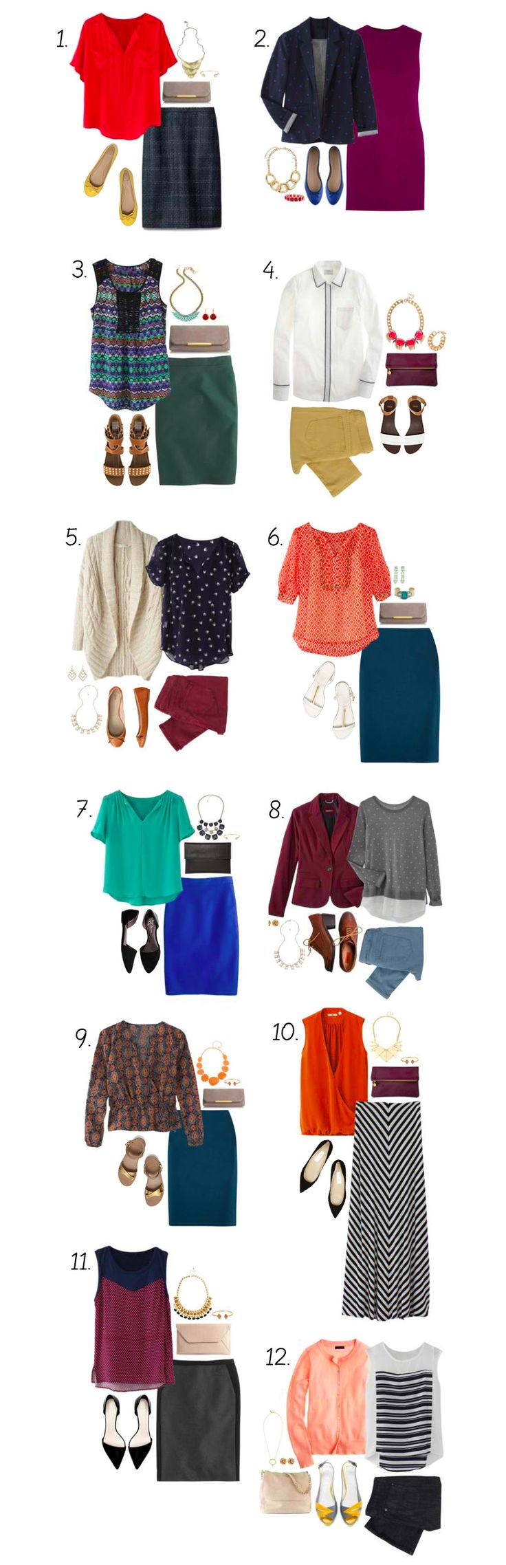 Big fan of all looks, except #10 (would prefer a shorter skirt). I am short, and maxi skirts don't do much for me.
