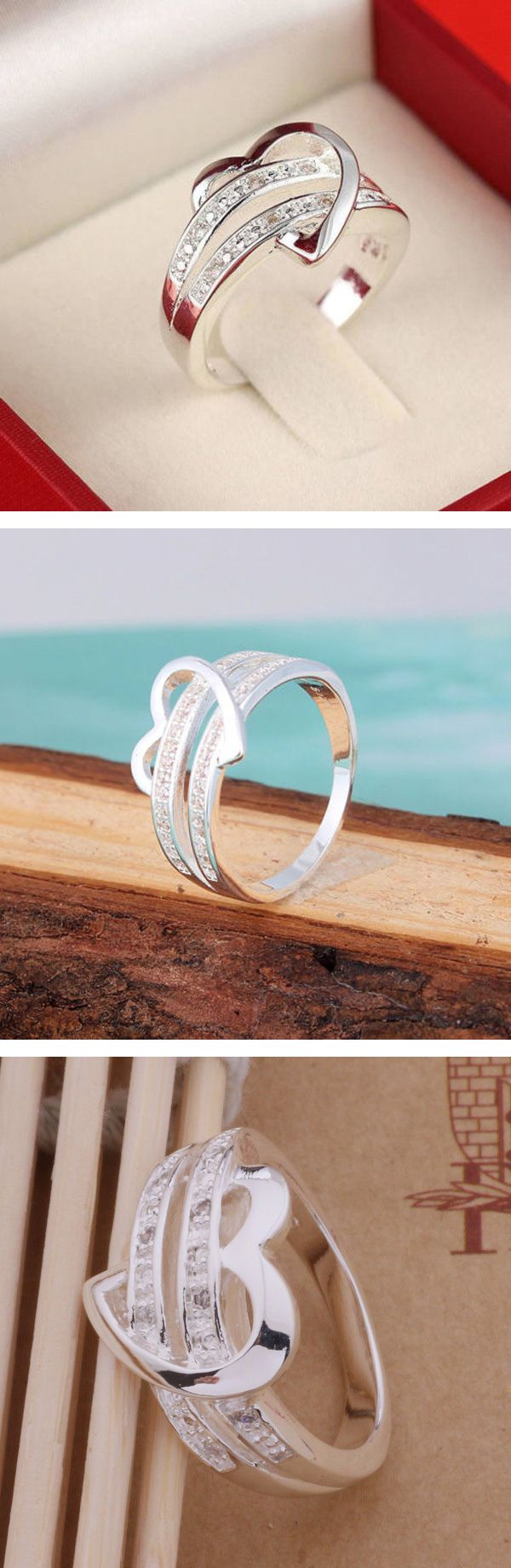 Get this hot heart ring made with 925 sterling silver. Great for your girlfriend, engagement, wedding, or just to show that special someone how much you love them. #heart