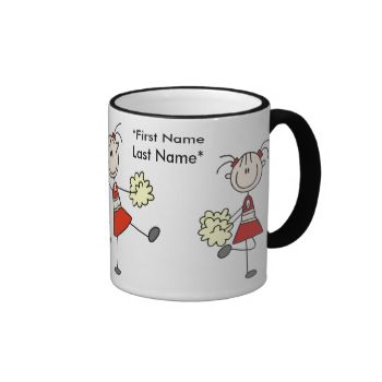 Three stick figure cheerleaders in red and gold on a customizable mug that you can add a first and last name or other text to! This cute cheerleader mug is a great gift for cheerleaders of any age! #cheerleader #cheering #cheer #cheerleading #sports #girls #womens #kids #stick #figures #stick #people #peacockcards #cartoon