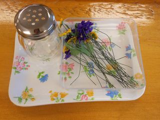 Flower arranging activity tray using cheese shaker from the dollar store
