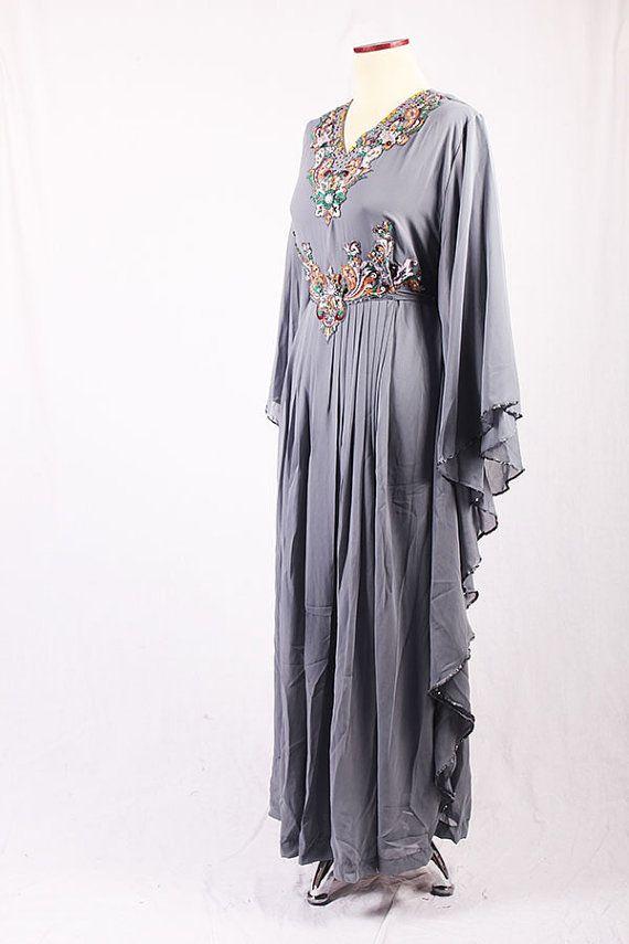 Luxury Moroccan Handmade Gray Kaftan One Size Maxi by syahdika