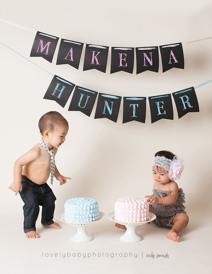 Boy and Girl Twin Cake Smash Session | Lovely Baby Photography