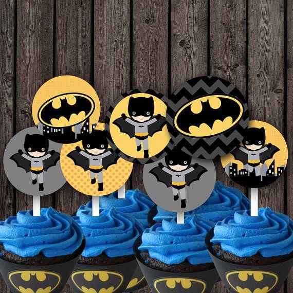 Batman cupcake toppers batman party supplies von AmysSimpleDesigns