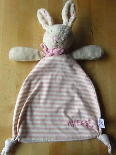 """Cuddly bunny comforter LOST 15/05/2014 in Camberley, Surrey  My 2yr old daughter lost her bunny in Camberley town centre today in either in the Atrium car park (level 3), the lifts, H&M, Next or between, which isn't a great distance. It is a Mothercare """"My First"""" Bunny Blanket/Comforter (pink and white stripes more worn than this photo). My daughter is devastated. any info/help in finding it appreciated and will be rewarded. Thank you. Contact Justine on…"""
