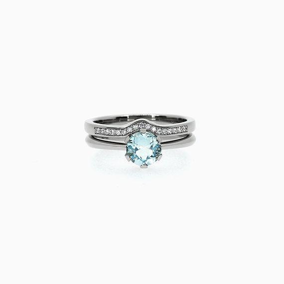 Solitaire Engagement Ring Set with Aquamarine