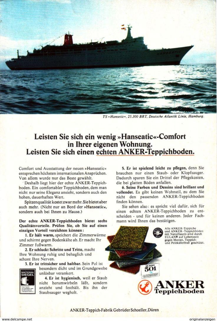 Werbung - Original-Werbung/Anzeige 1970 - ANKER TEPPICHBODEN / MOTIV SCHIFF TS HANSEATIC - ca. 160 x 230 mm