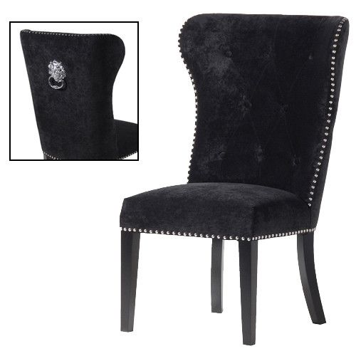 Ring Backed Black Velvet Studded Dining Chair Home Ideas