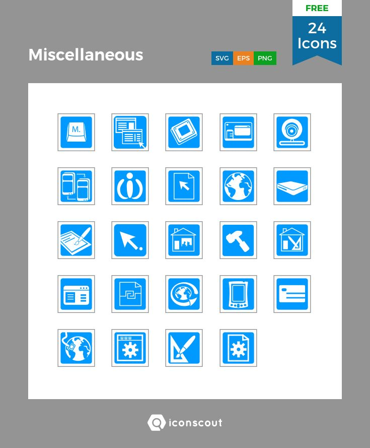 Miscellaneous  Free  Icon Pack - 24 Flat Icons