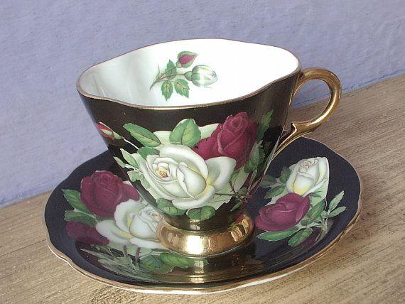 Vintage English teacup and saucer Windsor tea cup by ShoponSherman