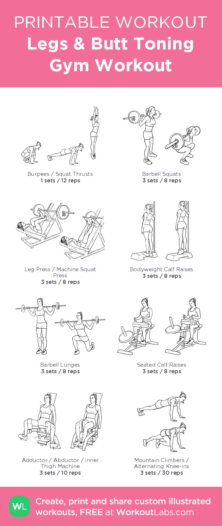 Legs & Butt Toning Gym Workout– my custom exercise plan created at WorkoutLabs.com • Click through to download as a printable workout PDF #customworkout