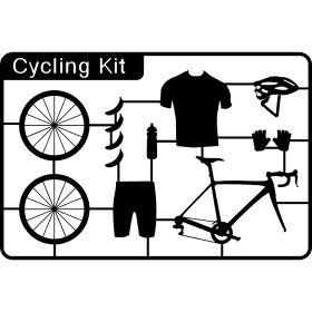 Rennrad Kid - Die perfekte Ausr�stung f�r einen Rennradfahrer mit einen Fahrrad, Radlerhosen, Trikot, Helm, Handschuhe, Trinkflasche und zur st�rkung Bananen.
