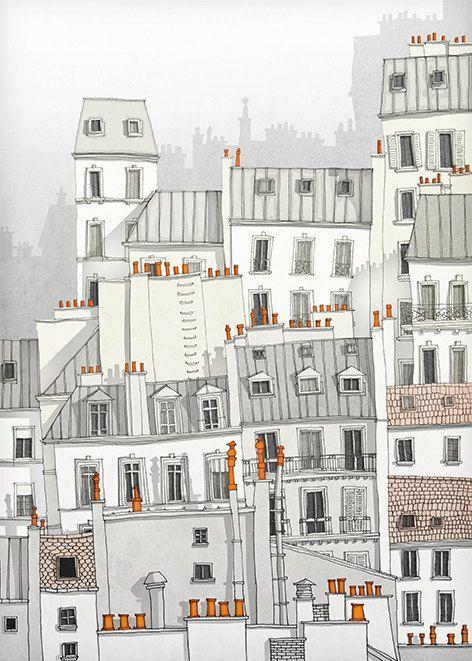 Paris illustration Paris Montmartre Art por tubidu en Etsy