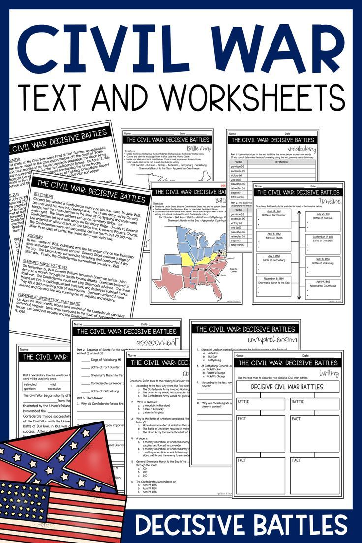 Civil War Battles Text And Activities And Battle Map Civil War Lessons Civil War Battles Elementary Social Studies Lessons Civil war worksheets elementary