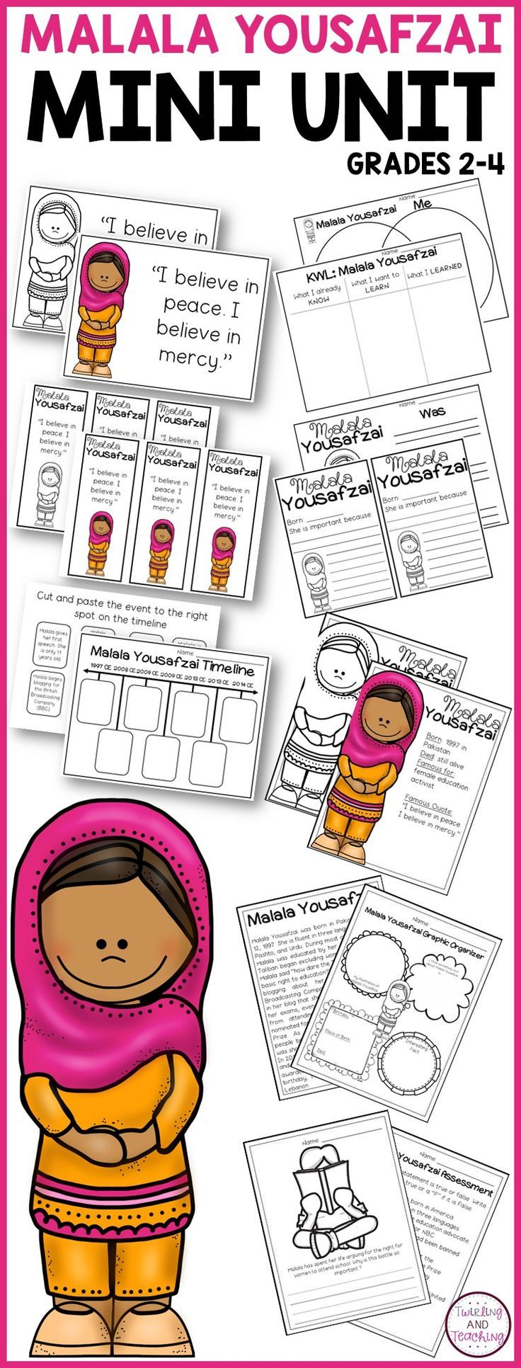 This set includes fun and engaging activities to teach your kids about Malala Yousafzai!