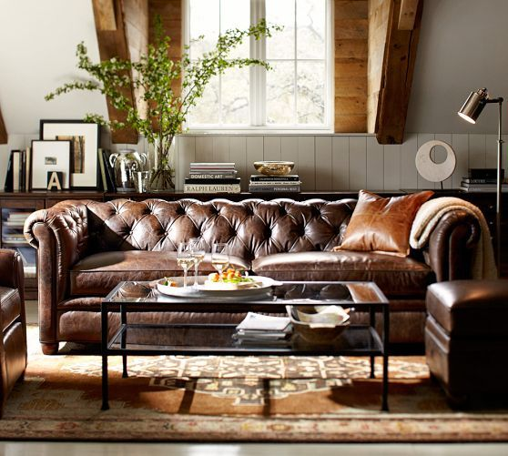Brown leather Chesterfield: too massive for an apartment in the city, but one day this will be ours!