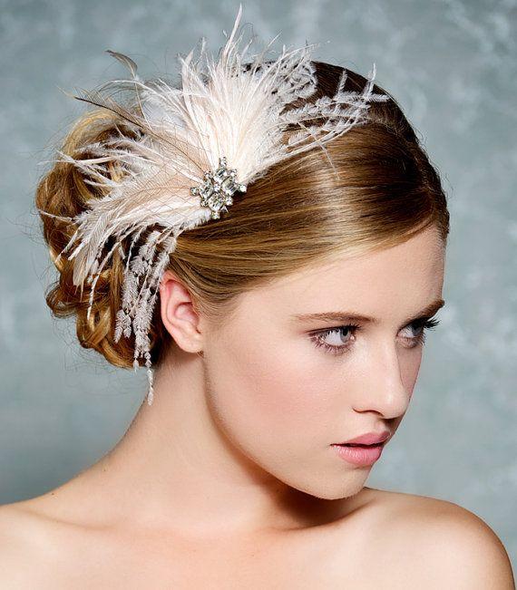 Ivoor Bridal zendspoel Bridal Fascinator bruiloft door GildedShadows