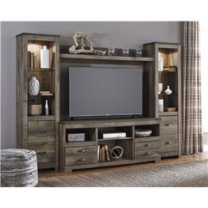 Signature Design by Ashley Furniture Trinell Rustic Large TV Stand w/ Fireplace Insert & 2 Tall Piers
