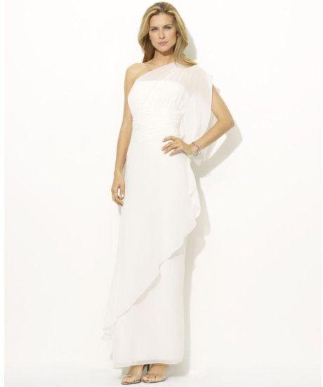 Ralph Lauren One Shoulder Chiffon Gown in White (ivory) $105 T10