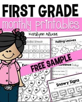 First Grade printables - Free Sample of Math and Literacy monthly printable pages!
