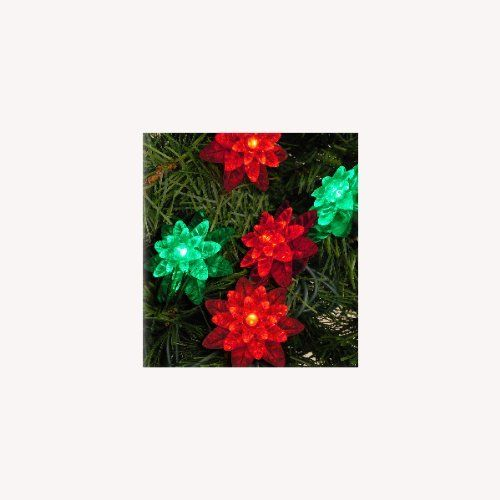 Set of 25 LED Red and Green Flower Petal Reflector Christmas Lights - Green Wire by Kurt Adler. $29.99. Set of 25 LED Wide Angle Christmas LightsItem #UL1695RGRFeatures:Color: red and green bulbs / green wireNumber of bulbs on string: 25Bulb size: concave wide angleSpacing between each bulb: 3 inches Lighted length: 8 feetTotal length: 10.3 feetLead wire length: 24 inchesAdditional product features:Flower reflector light covers each feature triple layered petalsLE...