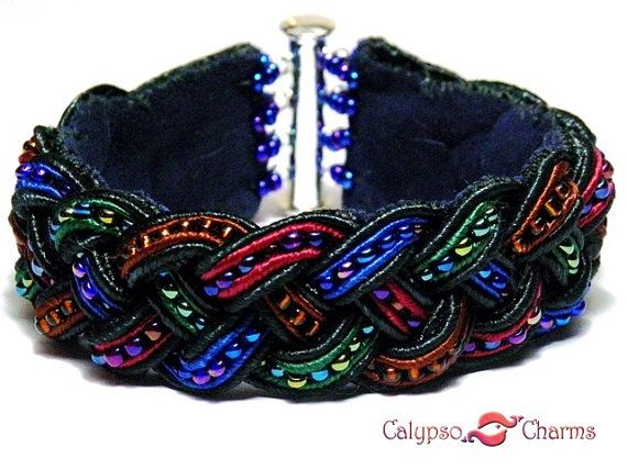 Braided Soutache Leather Bracelet with Seed Beads by CalypsoCharms, €30.00