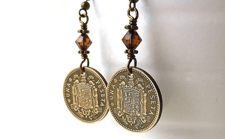 Spanish earrings, Coin earrings, Vintage earrings, Swarovski earrings, Smoked Topaz, Spanish jewelry, Rustic earrings, Coin jewelry, 1953 by CoinStories on Etsy