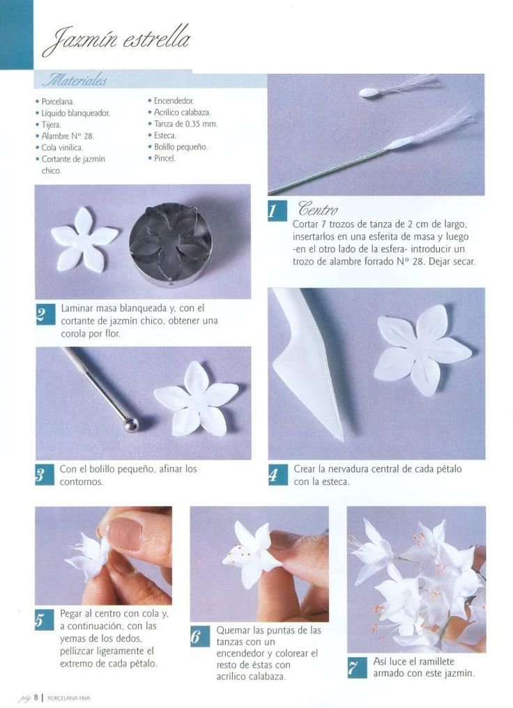Flores de porcelana fria, paso a paso, tutoriales y videos. Cold porcelain flowers tutorials with videos.