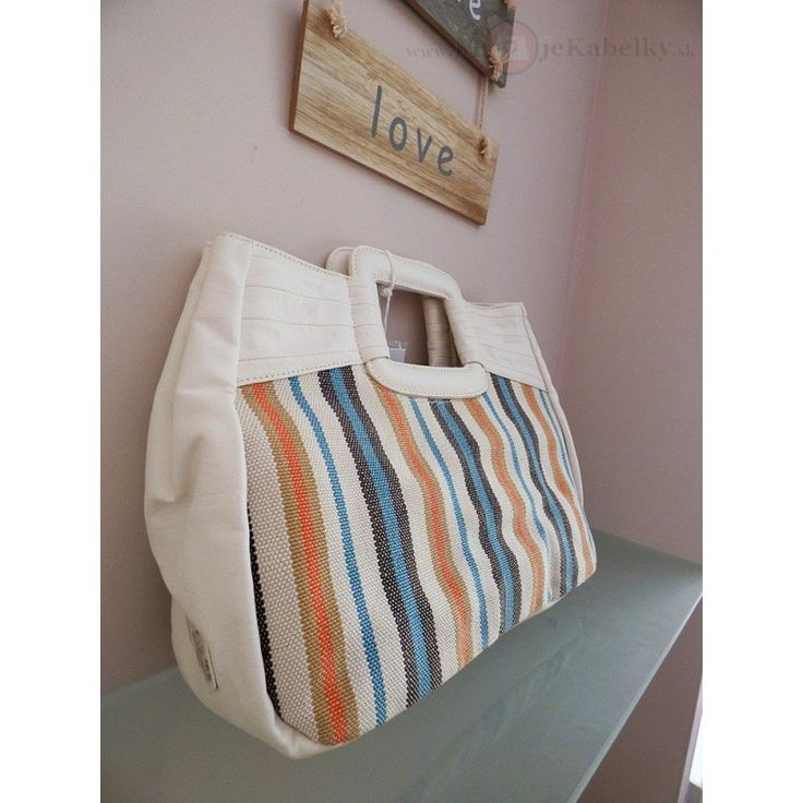Značková talianska kabelka J&C biela ekokoža+textília JC742-1