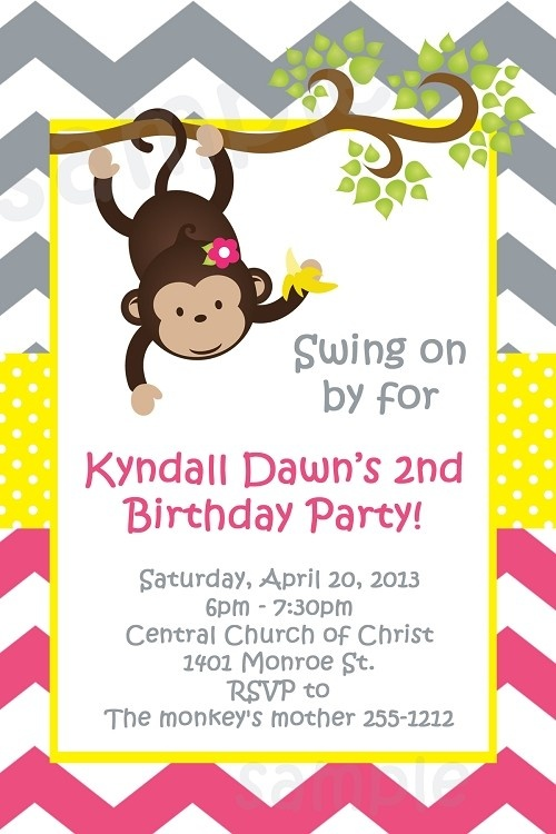 Pink and Grey Chevron Monkey Birthday Invitations, Baby Shower Invitations by Cutie Patootie Creations