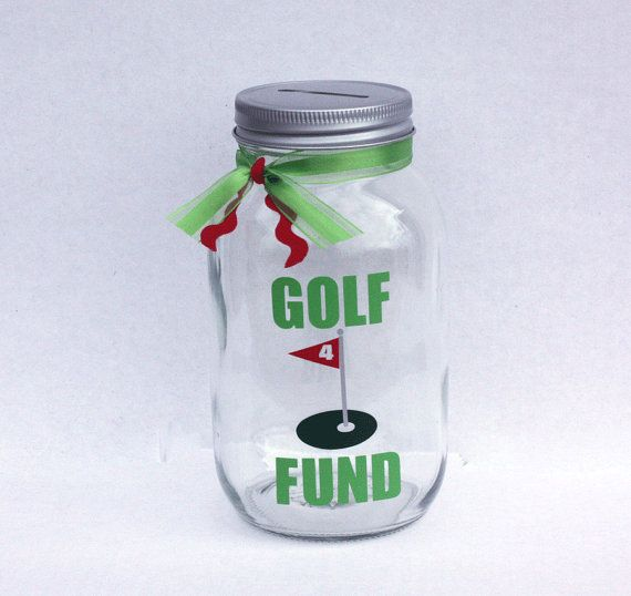 Golf Fund Canning Jar Bank, Coin Slot Lid and Ribbon, Golf Gift, Golf Decor…
