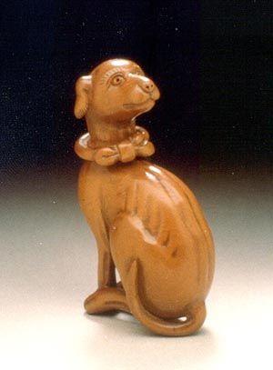 "netsuke  9th century Japanese  carved boxwood  2.4"" high (missing, stolen)"