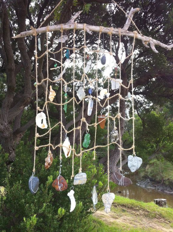DIY sea dream catcher with sea glass, pottery, twine and driftwood
