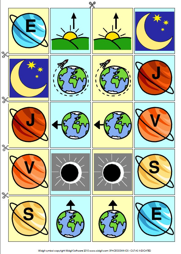 Symbols (c) Widgit Software 2010. Print on A4 paper: SPACE VOCABULARY: 20 useful topic words (illustrated) on a sheet to file, and PLANETS WORD SEARCH. SPACE PICTURE DOMINOS (no words). Print on A4 card and cut as marked.