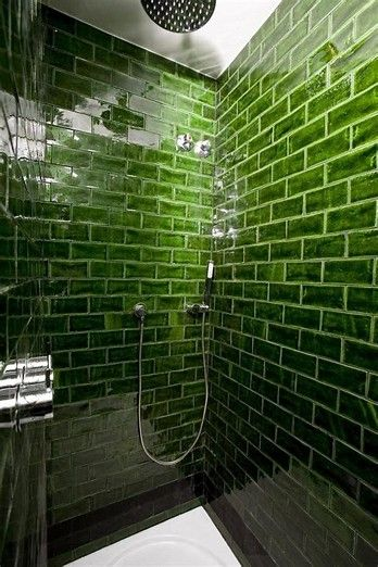 bold green subway tile Hotel Praktik Rambla Handmade tiles can be colour  coordinated and customized re. shape, texture, pattern, etc. by ceramic  design ...