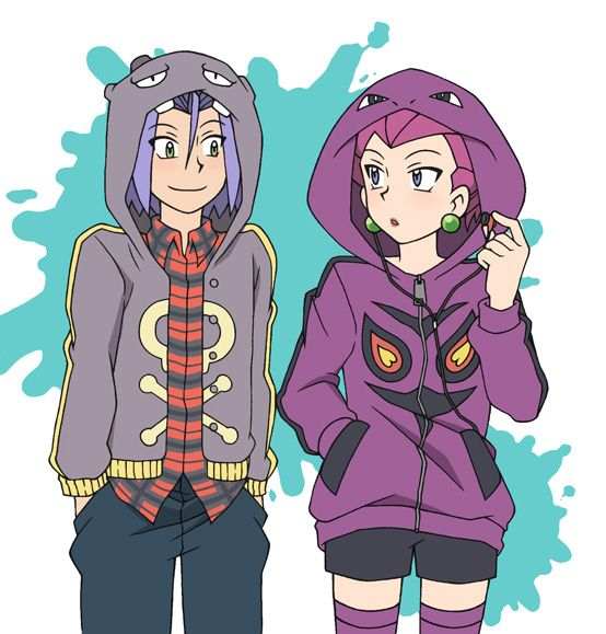 Jessie and James dressed as Arbok and Koffing