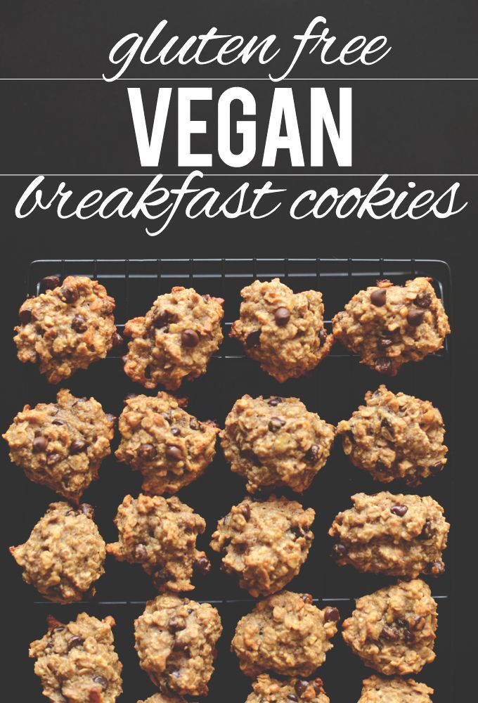 Tender, not-too-sweet breakfast cookies made with bananas, flax seed, oat flour, rolled oats, almond meal and lots of dark chocolate chips. Gluten free and vegan!