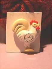 Rooster clock.  Not attached to background.