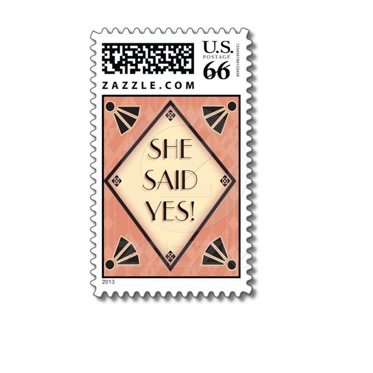 11 best art deco bridal shower invitations images on pinterest art art deco wedding postage stamp filmwisefo Gallery