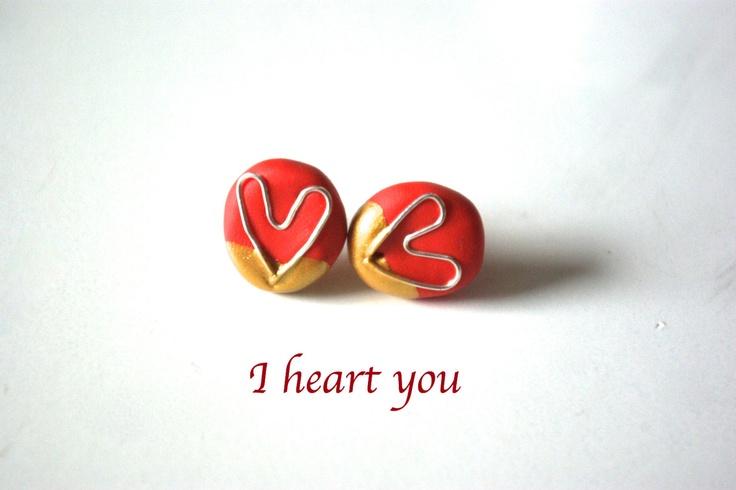 I heart you// gold dipped post earrings, handmade in Sweden. $15.00, via Etsy.