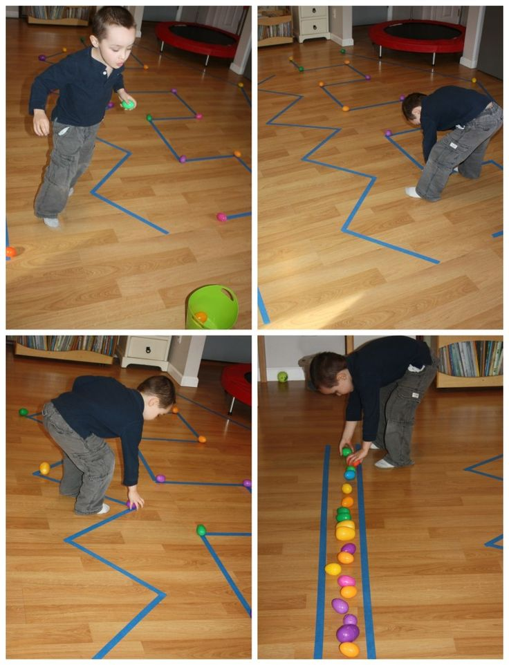 Proprioceptive sensory egg gathering race. Gross motor activities for kids