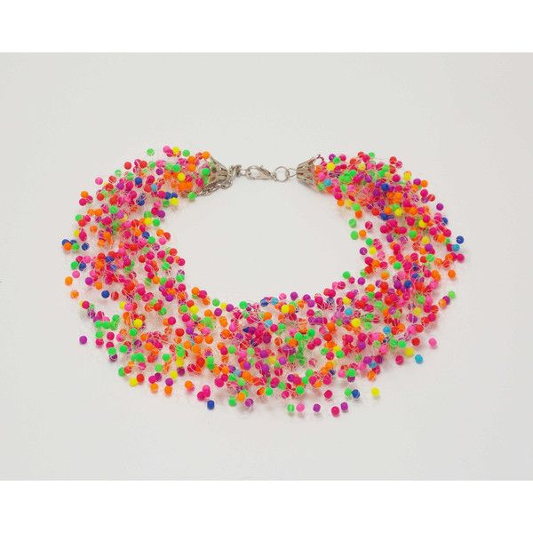 Gift\for\teachers gift Black friday Neon jewelry cyber monday neon... ($33) ❤ liked on Polyvore featuring jewelry, necklaces, colorful necklaces, neon necklace, multi colored jewelry, tri color jewelry and multicolor necklace