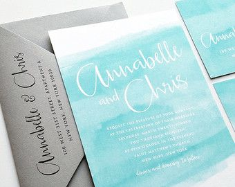 Jessalyn Watercolor Beach Wedding Invitation by CricketPrinting