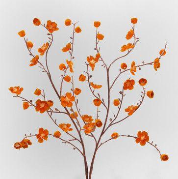 Orange Velvet Plum Blossoms Set Of 2 Contemporary Artificial Flowers