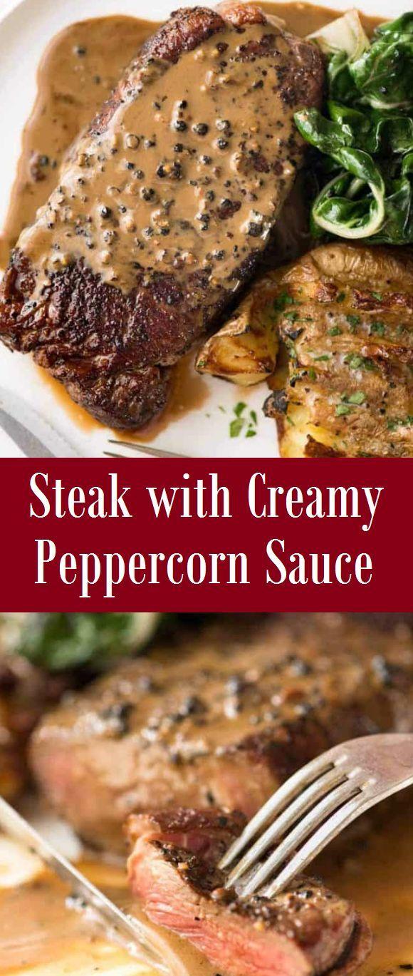 Steak With Creamy Peppercorn Sauce In 2020 Peppercorn Sauce Creamy Peppercorn Sauce Easy Steak Recipes